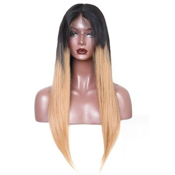 T1b/27 Colorful Pre Plucked 250% Density Lace Front Wigs Brazilian Virgin Human Hair Straight Wigs