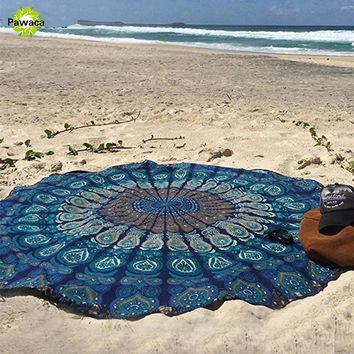 Yoga Mat Tablecloth Picnic Mat Decor 150cm Round Wall Hanging Indian Mandala Tapestry Vintage Boho Beach Throw Towel Bedspread