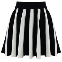 Strips Knitted Skirt in Black