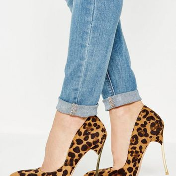 Missguided - Brown Animal Print Metal Heel Court Shoes
