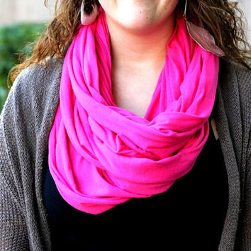 Bright Pink Infinity Scarf - Free Shipping- Hot Pink Scarf- Loop Scarf Infinity - Mothers Day gift
