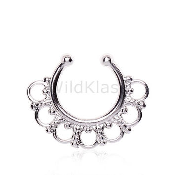 Fake Septum Clicker Ring Ornamental Filigree Circles 316L Surgical Steel