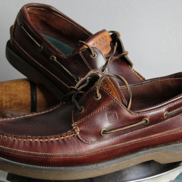 Retro Sperry Top Sider Mako Colllection 12 -12 12 1/2 Mens Leather Nuatical Boat Canoe Moc Shoes