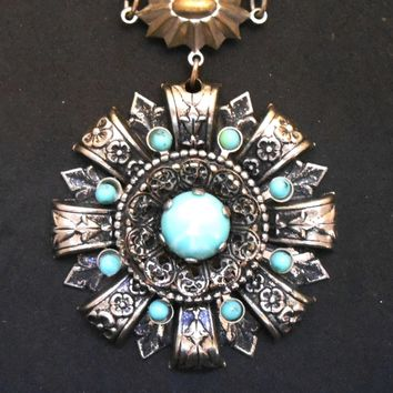 47 mm Vintage ornate white metal pendant with turquoise stones, reproduction piece, estate sale find, 16 inch chain