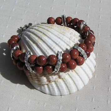 "Brown Goldstone Crystal Gemstone Bracelet ""Quest"""