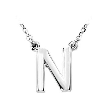 Block initial Necklace in 14k White Gold, Letter N