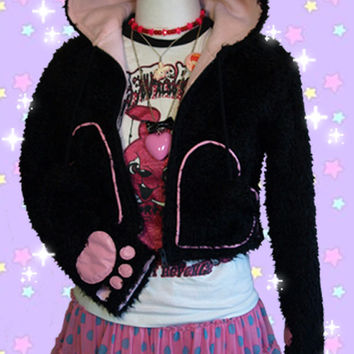 Japan Tokyo pop Harajuku KAWAII FURRY ears Koneko Kitty cropped HOODIE jacket, cute pink lining, heart pockets and pom-poms