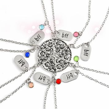 6pcs/set Collaborative Pizza Necklace Friendship BFF Charm Colorful Rhinestone Best Friends Forever Food Jewelry Gift