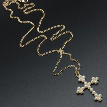 Faux Pearl Cross Sweater Chain Necklace - White And Golden