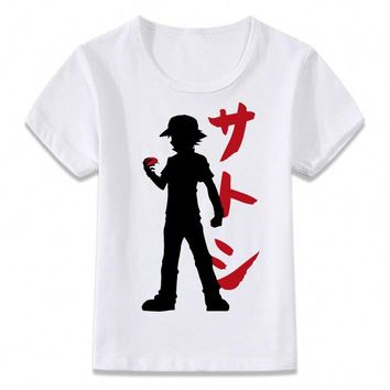 Kids Clothes T Shirt  Trainer Ash Children T-shirt for Boys and Girls Toddler Shirts TeeKawaii Pokemon go  AT_89_9