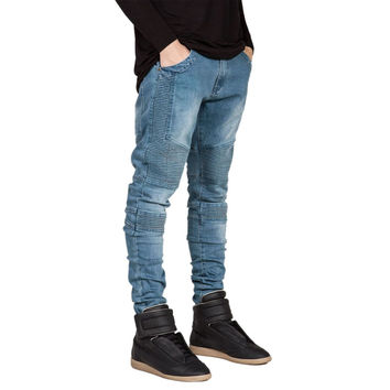 Famous Brand Men Straight Slim Fit Biker Jeans