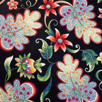 Outdoor Fabric, by the yard, WILLOUGHBY BLACK, Solarium Home Decor, Beautiful Fabric for Creative Genius Projects