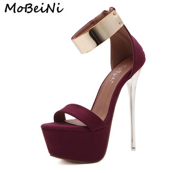 MoBeiNi Women Super Ultra High Heel Sandals Shoes Woman Platform Stilettos Heels Pumps Ankle Strap Shoes Party Black Wine Red