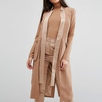 Lavish Alice Longline Blazer With Satin Lapels at asos.com