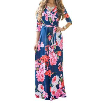 2018 Autumn Casual Maxi Dresses Women Floral Print Long Dress Mujer Robe Femme Plus Size V Neck Prairie Chic Party Dress GV842