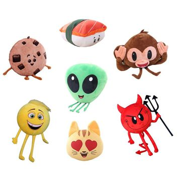 Creative Emoji Movie Series Plush Toy Alienware, Sushi, Love Cat, Cookie, Monkey Funny Stuffed Soft Pillow Cushion Kids Gift