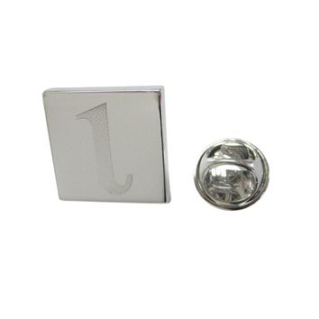 Silver Toned Etched Greek Letter Lota Lapel Pin