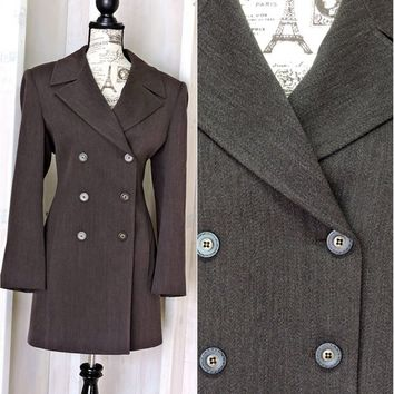 Vintage 80s Boyfriend blazer size 10 / 12 / Brown wool jacket / tailored long double breasted coat / retro minimalist / Jones New York