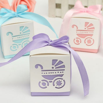 New 10Pcs Party Gift  Laser Cut Baby Shower Candy Ribbon Boxes Carriage Shower Favor Bomboniere Wedding Anniversary
