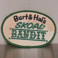 Vintage 80's Burt and Hal's Skoal Bandit Hat Patch Green White Craft NASCAR Car Racing