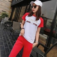 GUCCI Women Fashion Print Shirt Top Tee Pants Trousers Set Two-Piece