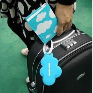 Women Clouds Shape Passport Cover Clip Holder + Luggage Tag + Silicone Strap Office School Supplies Blue