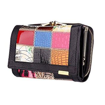 KPoint Women Wallet Fashion Splice Superior Cowhide Leather amp 6 Cards Holder Trifold Purse