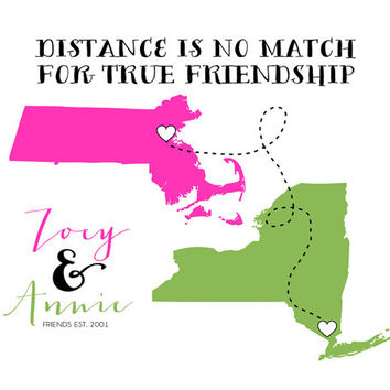 Long Distance Best Friends, Custom Map Print 8x10 - Two States, Two Hearts, Dotted Line - Friend Quote, Song Lyrics, You Choose