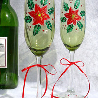 Painted Christmas Champagne Glasses With Poinsettia and Holly