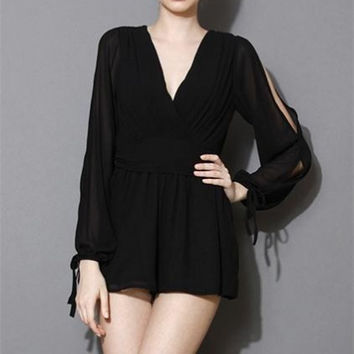 Black V-Neck Strapless Strappy Sleeve Perspective Chiffon Playsuits