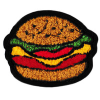 Cute Emoji Style Chenille Hamburger Patch 7cm Applique