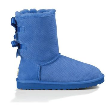 UGG Classic Bailey Bow Exotic Scales Marine Blue