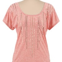 Scoop Neck Sequin Top
