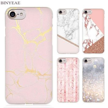 BINYEAE Stalactite Pink Marble glitter Clear Cell Phone Case Cover for Apple iPhone 4 4s 5 5s SE 5c 6 6s 7 7s Plus
