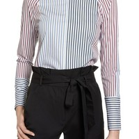 Halogen® Mixed Stripe Cotton Shirt (Regular & Petite) | Nordstrom