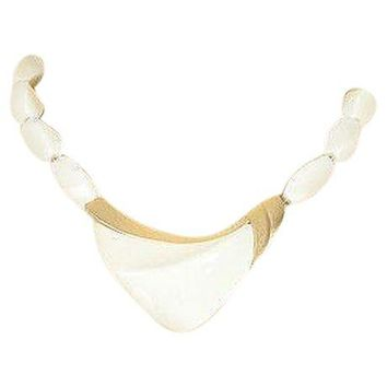 Pre-owned 70s Trifari White Beaded V Necklace