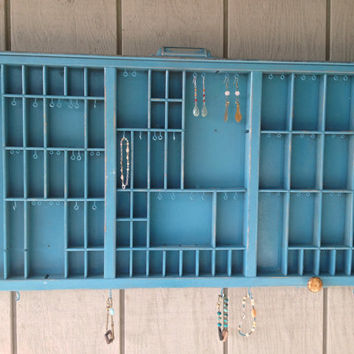 Turquoise Letterpress Jewelry Holder by OliveTreeHandmade on Etsy