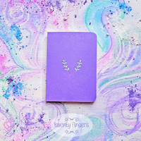 Lavender pearl spring notebook-sketchbook with a carved pattern - Leaf (small size)