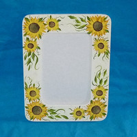 Sunflower Picture Frame Wood Painted Sunflower Gift Photo Custom Yellow