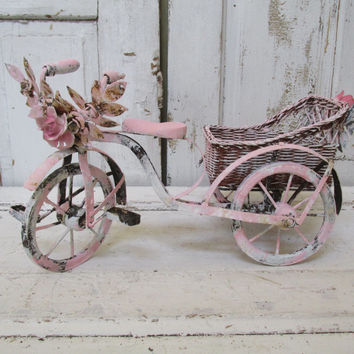 Decorative pink bicycle side car basket antique shabby chic bike rusty embellished metal roses porcelain roses home decor anita spero