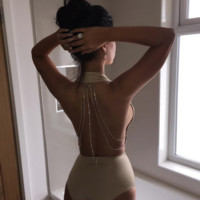 'Andra' Crystal Plunge Bodysuit - Nude
