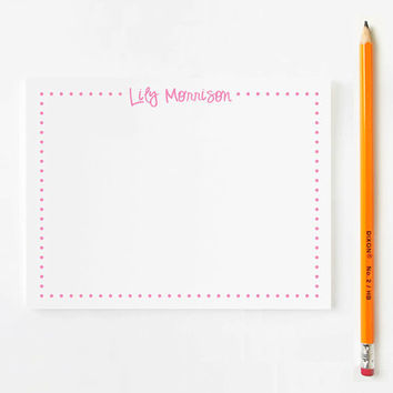 Kids Stationery set for girls - Poka Dot Personalized with Name