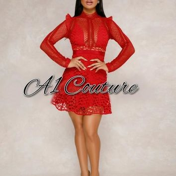 Venus Red Crochet Overlay Dress