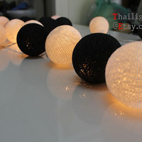 Black White Mix Cotton Ball Wedding Holiday/Party String Lights 20 Lanterns