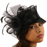 Fancy Handmade Feathers Organza Pin Fascinator Millinery Cocktail Hat Cap Black