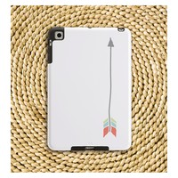 Arrow iPad / iPad Mini Case in Grey, Island Blue, Cucumber, and Coral on White - Gift for Her, Tech Accessory