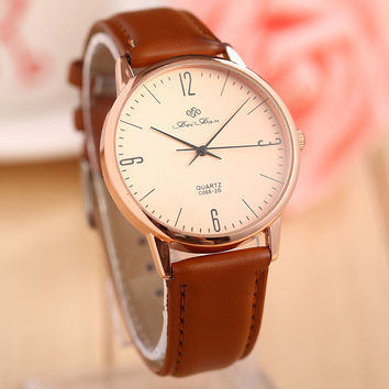 Trendy Gift Awesome Stylish New Arrival Good Price Great Deal Designer's Strong Character Vintage Simple Design Leather Couple Watch [7788406343]