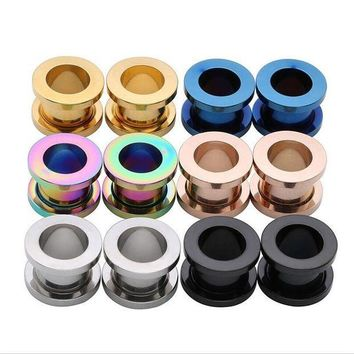 ac PEAPO2Q New Black Stainless Steel Ear Plugs Tunnels Flesh Expansions Piercing Ear Plugs Earring Gauges Ears Expanders Rings Body Jewelry