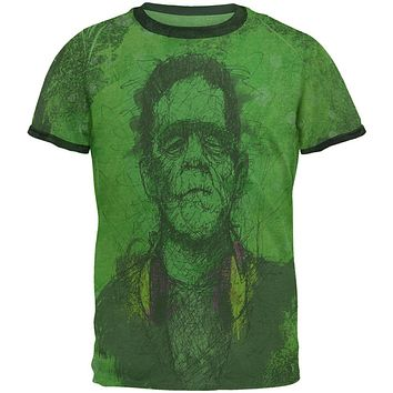 Halloween Frankenstein Raver Horror Movie Monster Mens Ringer T Shirt
