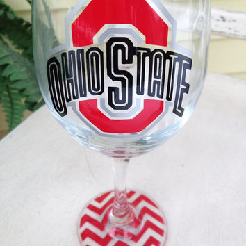 Wine glass, Ohio State, OSU, Buckeyes, custom wine glass, Ohio State wine glass, personalized wine glass, college, sorority, big little gift